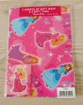 Princess Gift Wrapping Paper 2 Sheets & 2 Tags