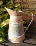 Zinc Metal Embossed Detail Jug - Garden Planter Vase Flowers Centre Piece