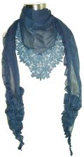 Ladies Blue Broiderie Anglaise Detail Scarf