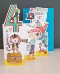 4th Birthday Card - Boy Kids - Pirate - 3 Fold Glitter Die-cut - Whippersnappers