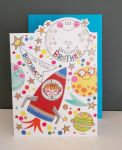 Birthday Card - Brother Space Ship - Glitter Die-cut - Cherry on Top