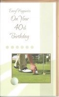 40th Birthday Card - Male - Golf