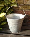 Traditional Double Ridge Metal Bucket Garden Planter Pot - 14.5cm