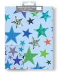 Blue Stars Gift Wrapping Paper 2 Sheet & Tags