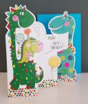 Birthday Card - Boy Kids - Dinosaur - 3 Fold Glitter Die-cut - Whippersnappers