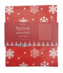 Christmas Snowflake Festive Tablecloth 137cm x 178cm Red