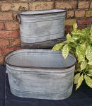 Zinc Metal Oval Garden Planter with Handles - 2 Sizes