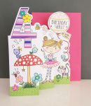 4th Birthday Card - Girl Kids - Fairy - 3 Fold Glitter Die-cut - Whippersnappers