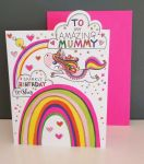 Birthday Card - Mummy - Unicorn Rainbow - Glitter Die-cut - Cherry on Top