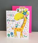Birthday Card - Niece Giraffe - Glitter Die-cut - Cherry on Top