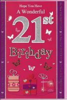 21st Birthday Card - Female - Pink Glitter