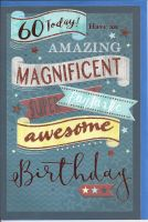 60th Birthday Card - Male - Blue Magnificent glitter