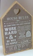 House Rules Brown Wall Plaque