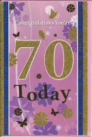 70th Birthday Card - Female - Pink Glitter