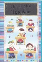 Thank You Teacher Card - Blue Boys - Chalkboard