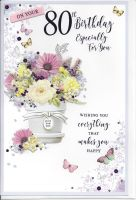 80th Birthday Card - Female - Floral Pot