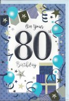 80th Birthday Card - Male - Blue Balloons