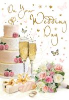 Wedding Day Card - Wedding Cake & Bouquet