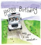 Birthday Card - Motorhome Adventure Caravan - Sparkle - Alex Clark