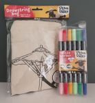 Shaun The Sheep Drawstring Bag & Textile Marker - Colour In