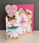 Birthday Card - Girl Kids - Ballerina - 3 Fold Glitter Die-cut - Whippersnappers