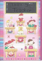 Thank You Teacher Card - Pink Girls - Chalkboard