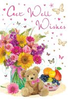 Get Well Soon Card - Flowers, Teddy & Fruit