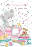 New Baby Girl Card - Bear in the Bath