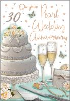 Wedding Anniversary Card - On Your Pearl 30 Anniversary