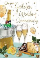 Wedding Anniversary Card - On Your Golden 50 Anniversary