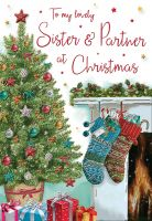 Christmas Card - Sister & Partner Stockings - Regal