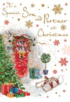 Christmas Card - Son & Partner Winter Front Door - Regal