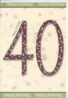 40th Birthday Card - Male - Maroon