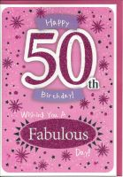 50th Birthday Card - Female - Pink Glitter Fabulous