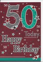 50th Birthday Card - Male - Stars