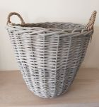 Large Grey Washed Willow Tall Log Basket