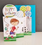 Birthday Card - Boy Kids - Football - 3 Fold Glitter Die-cut - Whippersnappers