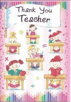 Thank You Teacher Card - Pink Girls - Flag