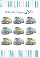 21st Birthday Card - VW Campervan