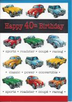 40th Birthday Card - Male - Classic Cars Mini Beetle Jag