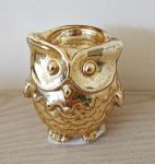 Owl Design Tealight Holder - Gold Crackled