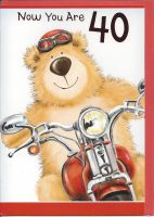 40th Birthday Card - Male - Bear on a Motorbike