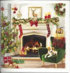 Luxury Boxed Christmas Cards - 12 Cards 3 Designs - Cosy Xmas Fireplace Dog Cat - Ling Design
