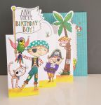 Birthday Card - Boy Kids - Pirate - 3 Fold Glitter Die-cut - Whippersnappers