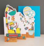 Birthday Card - Boy Kids - Digger - 3 Fold Glitter Die-cut - Whippersnappers