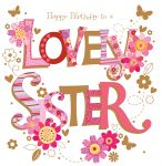 Birthday Card Large - Sister - Flowers 3D Glitter - Talking Pictures