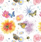 Flowers Bees Wrapping Paper 2 Sheets & Tags - Arty Penguin