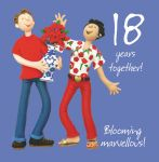 Wedding Anniversary Card - 18th Eighteenth 18 Years One Lump Or Two