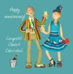 Wedding Anniversary Card - Congrats Cheers Chin-Chin One Lump Or Two
