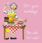 Birthday Card - Female This Calls For Cake! Funny Humour One Lump Or Two